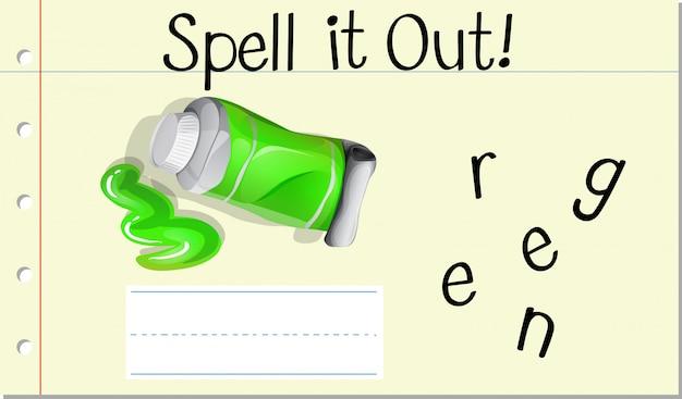 Deletrear la palabra verde verde