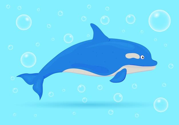Delfín sobre fondo azul con burbujas. peces de mar. vida salvaje marina submarina. ilustración.