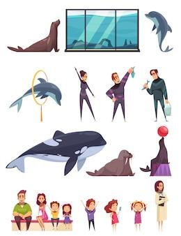 Delfinario con animales y trabajadores