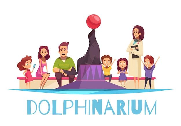 Delfinario con familias y una foca