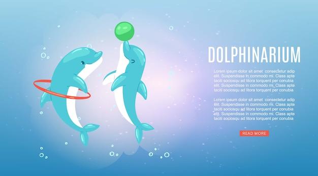 Delfinario, inscripción, naturaleza submarina del océano, pez delfín azul marino, espectáculo de mamíferos marinos, ilustración. vida salvaje brillante, salto a través del anillo, divertido juego de pelota, acuario de agua.