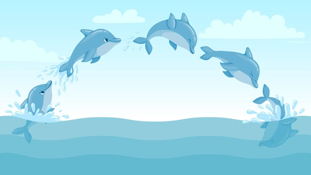Los delfines saltan del agua. paisaje marino de dibujos animados con delfines saltando y salpicaduras. marcos de animación de vector de personaje de delfines marinos lindos. salpicaduras de delfines en el agua, fauna marina