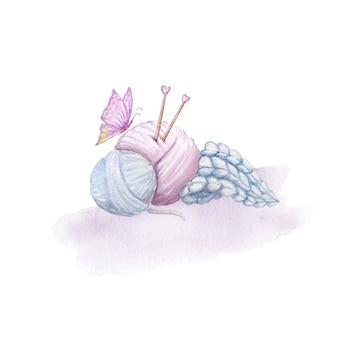 Delicada ilustración azul rosa dos ovillos de hilo con agujas de tejer y con una pajarita morada