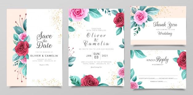 Delicada plantilla de papelería de invitación de boda con decoración floral y brillo de acuarela
