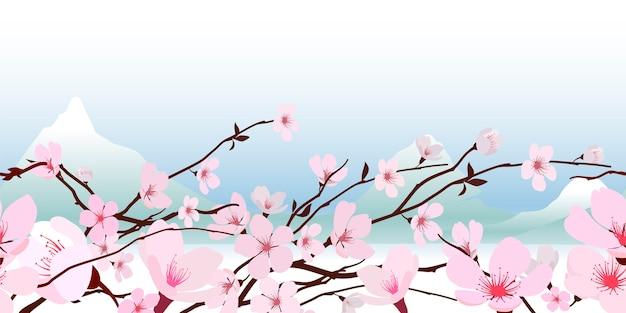 Delicada rosa fresca primavera flor de cerezo en flor japonesa en un banner horizontal