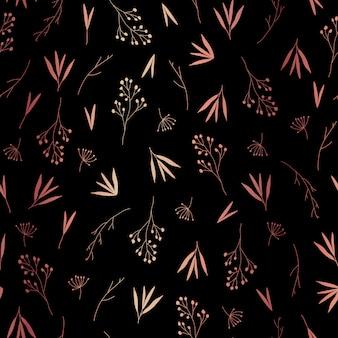Delicadas hojas de oro rosa de patrones sin fisuras