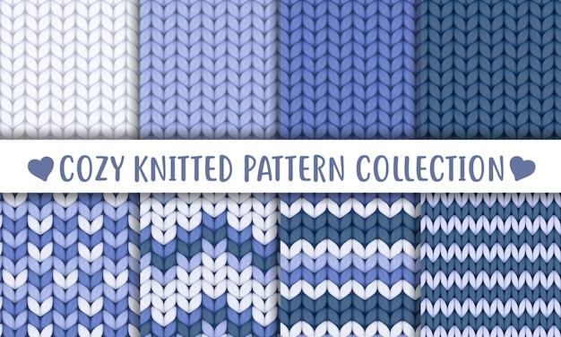 Delicado patrón sin costuras de lana tejida azul