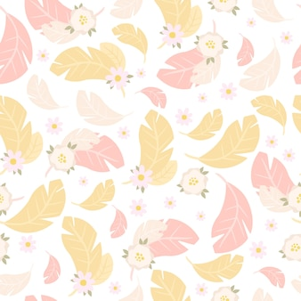 Delicado patrón de flores y plumas de color rosa y amarillo