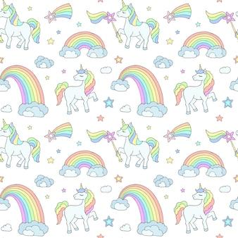 Delicado patrón infantil con unicornios, arco iris y nubes sobre un fondo blanco adecuado para imprimir en tela, ropa interior para bebés, papel tapiz para bebés