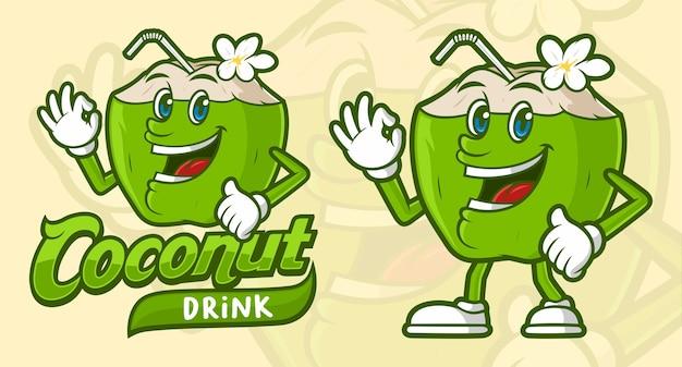 Deliciosa bebida de coco, con personaje de dibujos animados divertido