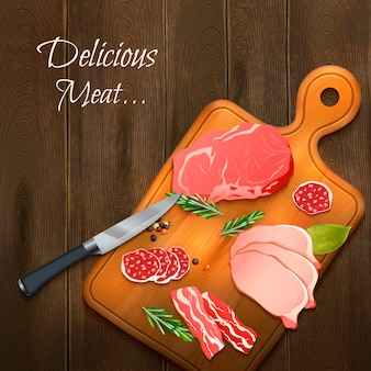 Deliciosa carne sobre tabla de madera.