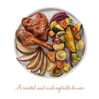 Deliciosa cena de carne asada y verdura