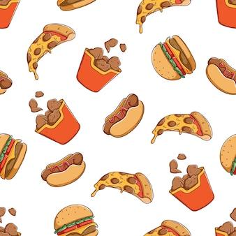 Deliciosa comida chatarra en patrones sin fisuras con estilo de dibujo a mano de color