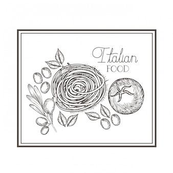 Deliciosa comida italiana en dibujo.