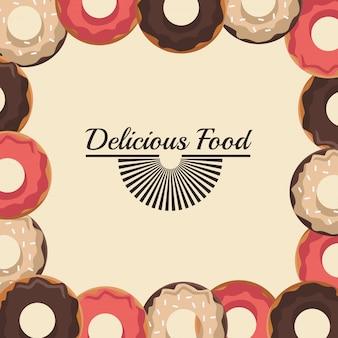 Deliciosa comida con marco de rosquillas dulces
