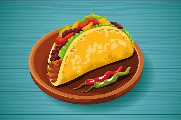 Deliciosa comida mexicana, diseño de tacos