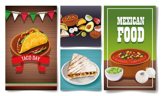 Deliciosa comida mexicana establece diseños