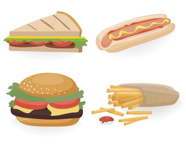 Deliciosa comida rápida. conjunto de hamburguesa, hot dog, sándwich, papas fritas