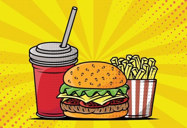 Deliciosa comida rápida estilo pop art