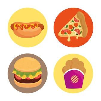 Deliciosa comida rápida en marcos circulares en blanco
