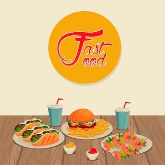 Deliciosa comida rápida en mesa de madera con letras