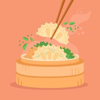 Deliciosa comida tradicional de gyozas en diseño plano.