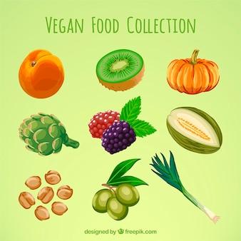Deliciosa dieta vegana pintada a mano