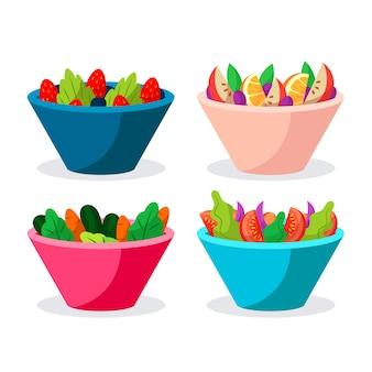 Deliciosa ensalada de frutas en cuencos de colores