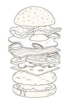 Deliciosa hamburguesa con capas o ingredientes dibujados a mano.