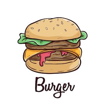 Deliciosa hamburguesa de comida rápida con texto y usando un estilo de doodle de colores sobre fondo blanco