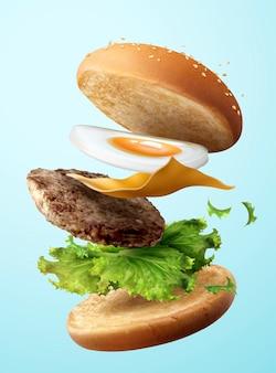 Deliciosa hamburguesa de huevo volando en el aire sobre fondo azul, ilustración 3d