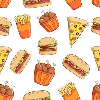 Deliciosa linda comida chatarra de patrones sin fisuras con pizza, hamburguesas y baquetas