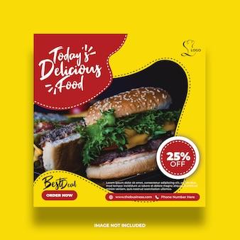 Deliciosa mejor oferta comida redes sociales colorido mínimo amarillo plantilla de publicación
