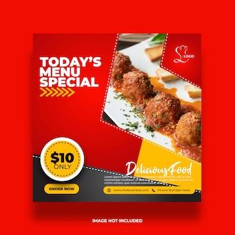 Deliciosa oferta restaurante menú comida especial redes sociales publicar plantilla premium abstracta