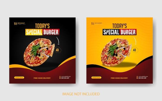 Deliciosa pizza y menú de comida banner de redes sociales y diseño de plantilla de publicación de instagram
