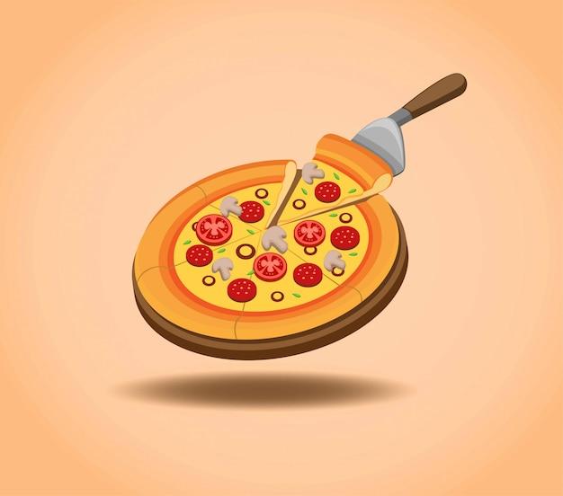 Deliciosa pizza en pan de mesa de madera lista para comer, promoción de menú de pizza en ilustración de dibujos animados en fondo degradado