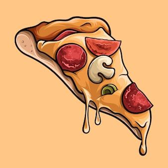 Deliciosa rebanada de pizza de queso, ilustración en alta calidad de sombras