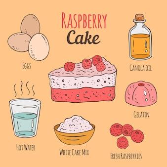 Deliciosa receta de pastel de frambuesa dibujado a mano