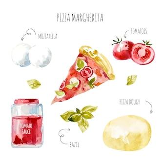 Deliciosa receta de pizza margherita dibujada a mano