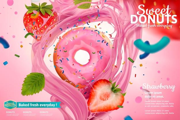 Deliciosa rosquilla de fresa con frutas frescas y banner de salsa salpicando