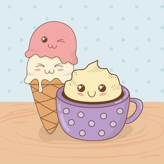 Deliciosa taza de chocolate y dulces alimentos kawaii personajes