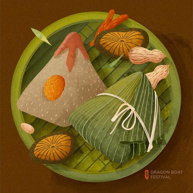 Deliciosas bolas de masa de arroz en un tamiz de bambú para el festival del barco del dragón, vacaciones escritas en caracteres chinos