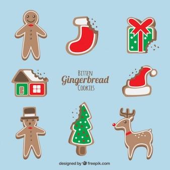 Deliciosas galletas de jengibre navideñas con un mordisco