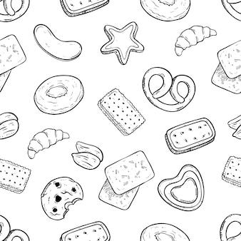 Deliciosas galletas de patrones sin fisuras con dibujado a mano o estilo boceto
