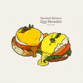 Un delicioso benedicto de huevos con salmón ahumado, salsa holandesa, dibujo a mano dibujo vectorial.