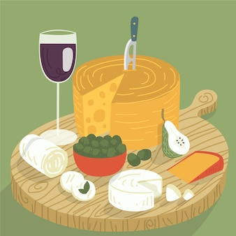 Delicioso bocadillo de queso en tabla de cortar con vino