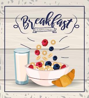 Delicioso cereal con frutas y vaso de leche.