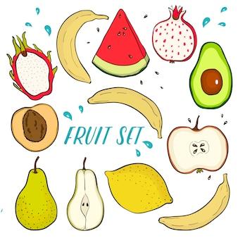 Delicioso conjunto de frutas frescas