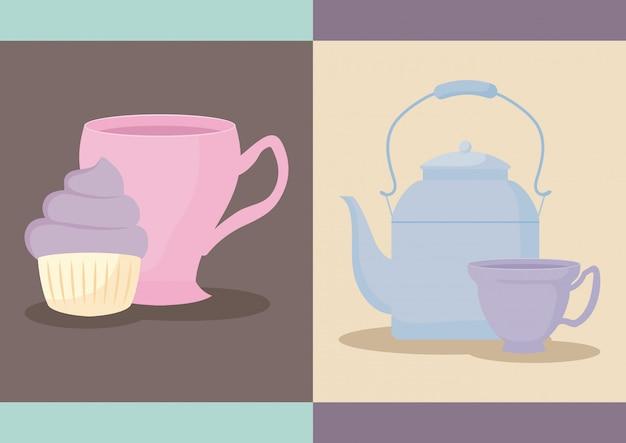 Delicioso cupcake con tetera y taza