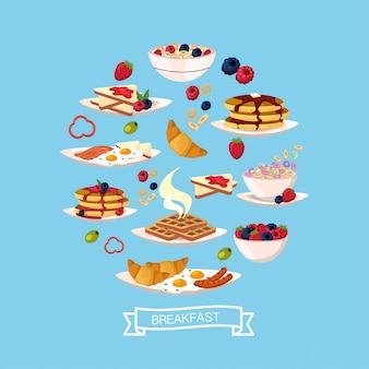 Delicioso desayuno con proteínas de nutrición.